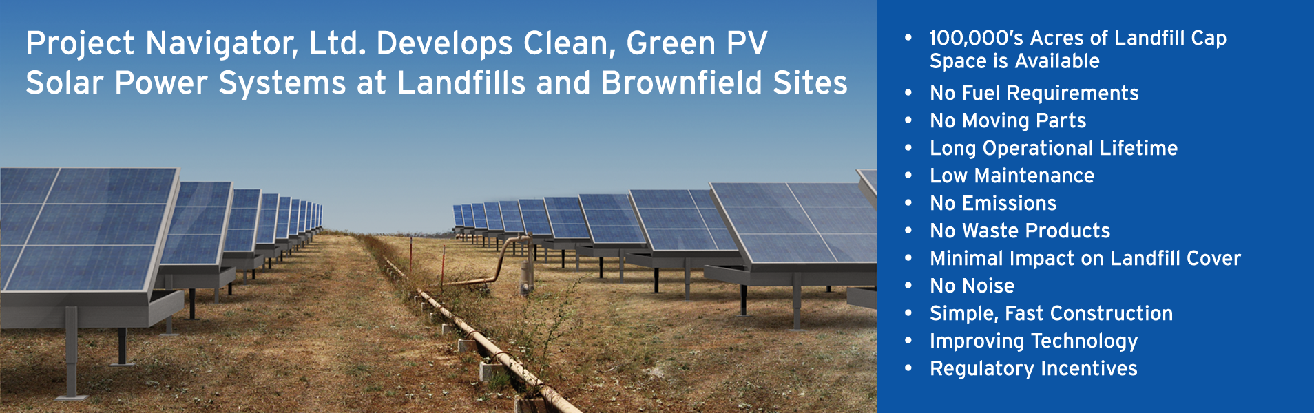 Project Navigator, Ltd. Develops Clean, Green PV Solar Power Systems at Landfills and Brownfield Sites